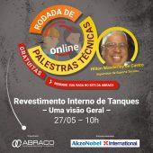 Palestra sobre Revestimentos Interno de Tanques - Rodada de Palestras Técnicas Online da ABRACO